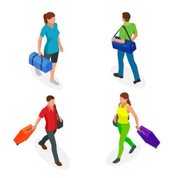 Isometric people with travel bag traveling on vector