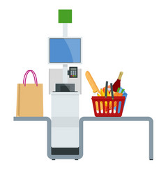 Isometric self-service cashier or terminal point vector