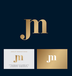 j and m letters monogram combined gold vector image
