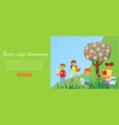 kids reading books in park web banner for love to vector image