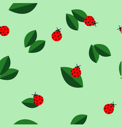 Ladybugs and leaves texture seamless vector