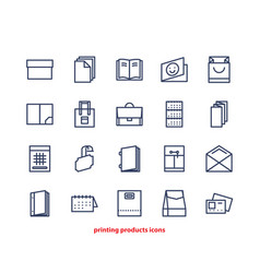 Line icons of print design products from pamphlet vector