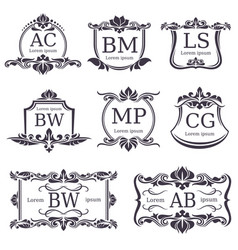 Luxury logo monograms with decorative ornament vector