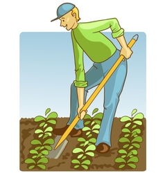 Man digging spring soil with shovel vector