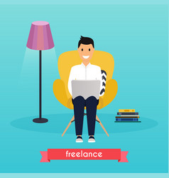 Man working at home young man sitting on a chair vector