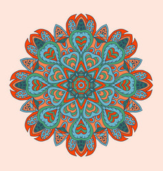 mandala doodle drawing colorful round ornament vector image
