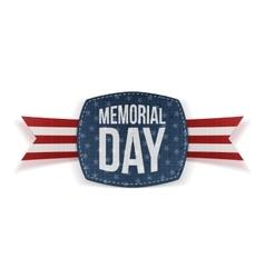 Memorial day realistic emblem and ribbon vector