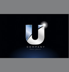 Metal blue alphabet letter u logo company icon vector