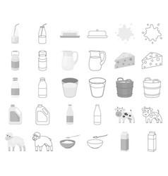 milk product monochromeoutline icons in set vector image