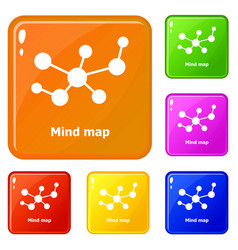 Mind map icons set color vector