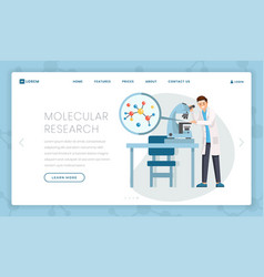 molecular research flat landing page template vector image