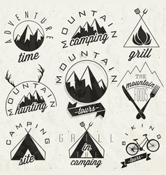 Mountain Expedition symbols and signs vector image
