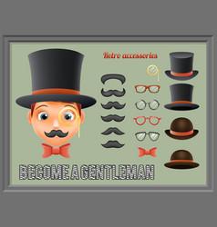Mustache bow glasses top hat gentleman victorian vector