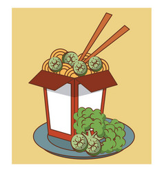 Noodles fast food vector