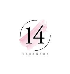 Number 14 watercolor stroke logo design vector