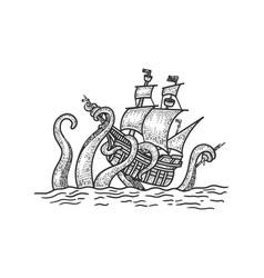 Octopus atteck vintage ship sketch vector