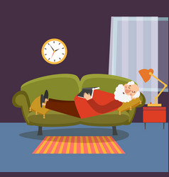 old man sleeping on sofa with book elderly vector image