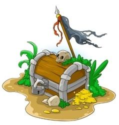 Pirate treasure chest vector