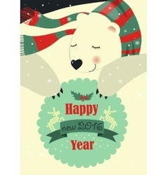 Polar bear wishing you Merry Christmas vector image