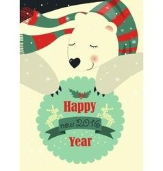 Polar bear wishing you Merry Christmas vector