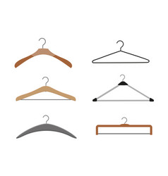 realistic wooden hangers for coats sweaters vector image