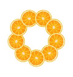 Round frame of orange slice citrus frame vector
