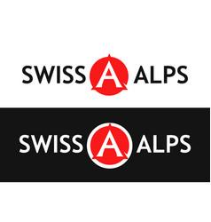 Round logo of swiss alps vector