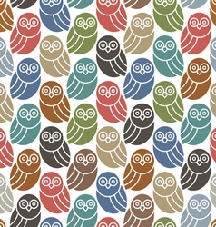 Seamless pattern with cute owls in retro colors vector image
