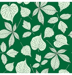 Seamless pattern with hand-drawn leaves vector