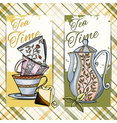 set hand drawn tea time cards vector image