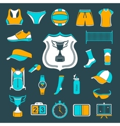 set of icons volleyball vector image