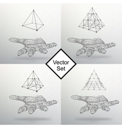 Set triangle pyramid on the arm The hand holding vector image