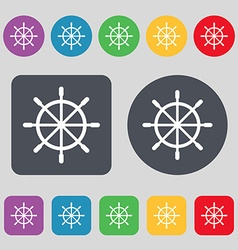 Ship steering wheel icon sign A set of 12 colored vector