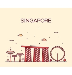 Singapore City skyline Trendy line art vector