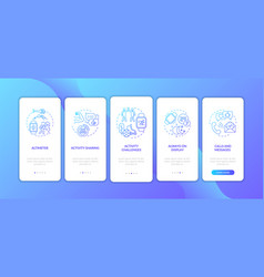 Smart watch features onboarding mobile app page vector