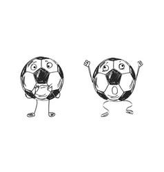 Soccer ball emotional smileys vector