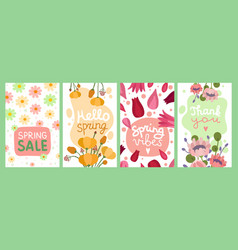 spring bouquets card flower greeting gift tags vector image