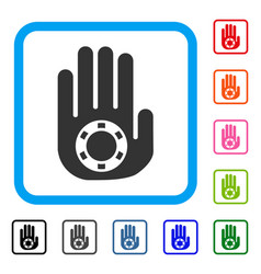 stop gambling palm framed icon vector image