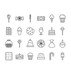 Sweet dessert candy and pastry icons set line vector