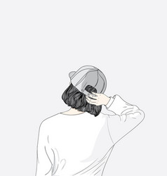 the girl turned her back feeling lonesome vector image