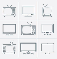 Tv set - outline icons vector