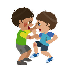 Two boys fighting and scratching part bad kids vector