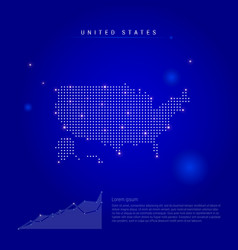 United states illuminated map with glowing dots vector