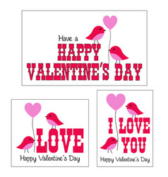 Valentines day graphics with cute birds vector
