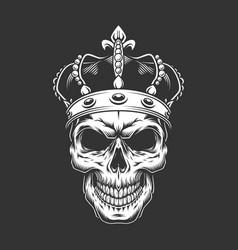 Vintage king skull wearing crown vector