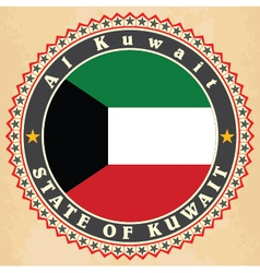 Vintage label cards of Kuwait flag vector image
