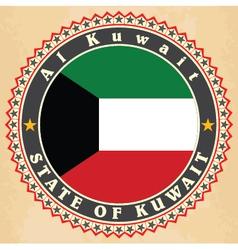 Vintage label cards of Kuwait flag vector image