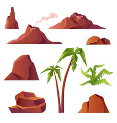 Volcano with smoke mountains and palm trees vector
