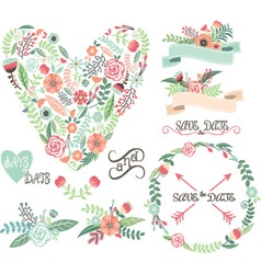 Wedding Floral Graphic Elements Labels Ribbons vector image