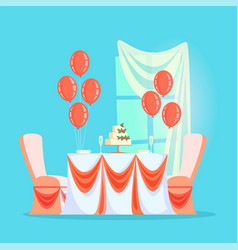 wedding or banquet table with cake and champagne vector image